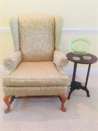 Wing back chair in excellent condition  Green depression glass platter uranium green parrot sylvan federal