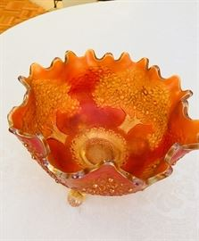 Fenton carnival glass orange tree pattern pumpkin marigold 3 footed 10 inch iridescent bowl.