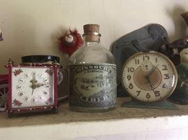 Vintage Clocks/Old Bottles