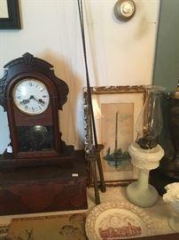 Antique Mantel Clock, Antique Woodburned Box, Antique Milk Glass Oil Lamp,Nice Antqiue Water Color Washington Monument,Swords, Fredericksburg Plate.
