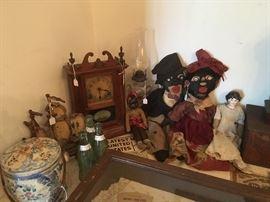 Antique Biscuit Jar, Cast Iron Ship, Fredericksburg,Va, Coca Cola Bottles, Antique Clock with Ship, Antique Oil Lantern,Antique Folk Art Black Americana Dolls, Antique Shoulder Head Doll.
