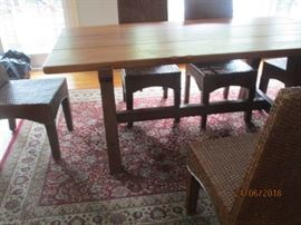 Harvest style table with 6 chairs