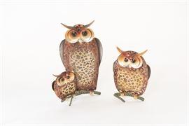 Trio Of Ceramic Owls