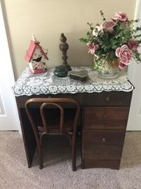 Antique sewing table and chair