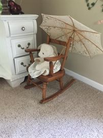 Wood child's rocker and umbrella