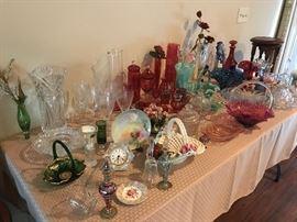 Fenton, Cranberry Glass, Capo Di Monte, Glass Eye Art Glass, Porcelains, Lenox, etc.