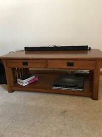 MISSION STYLE MEDIA STAND WITH MATCHING PAIR OF END TABLES (CAN BE USED AS A COFFEE TABLE)