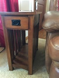 PAIR OF MISSION STYLE END TABLES AND MATCHING MEDIA STAND