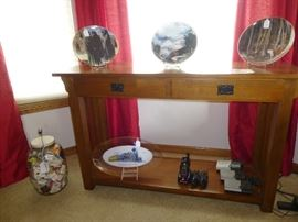 MISSION STYLE SOFA / ENTRYWAY TABLE, (SOLD) - VINTAGE PICKLE JAR - RAILROAD PLATES