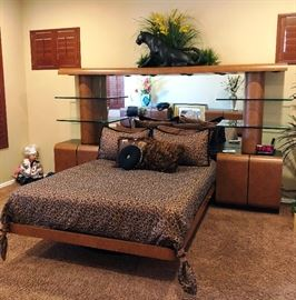 Beautiful Bedroom Set with mirrored headboard and glass shelves, and built in end tables