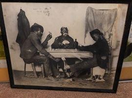 "1898 print African American. Vintage Black Americana Print  "" A Skin Game"". Aprox 11x14"
