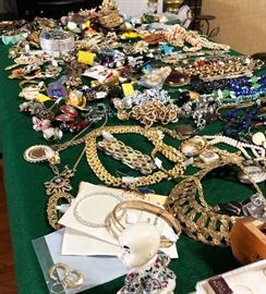 Tons of vintage jewelry.