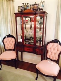 Antique Chairs, Mahogany Curio, Cut Glass, Silverplate, Pewter, Art Glass