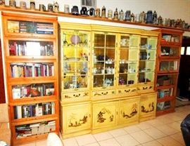 Barrister book cases and lacquered display cabinet or hutch