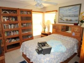 Queen bedroom set--clean protected mattress night stands and dresser --more barrister book cases