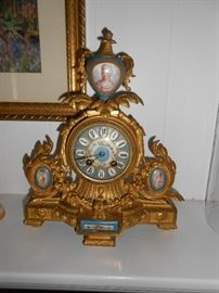 French mantle clock enamel ladies bodice's