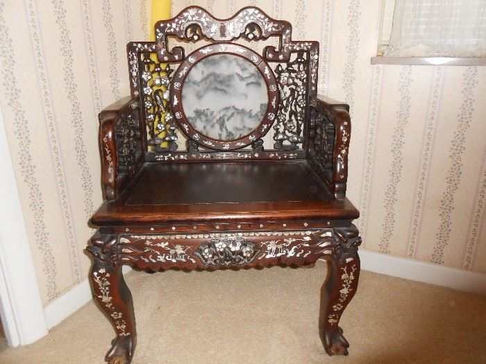 TAKING bids!!!!  and....What a statement!  Possible Meiji period.....Vintage Oriental, ornately carved/mother of pearl/throne chair.  Center back marble mountain scene encircled with mother of pearl designs.