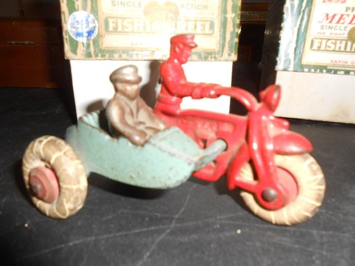 Cast iron motorcycle with side car