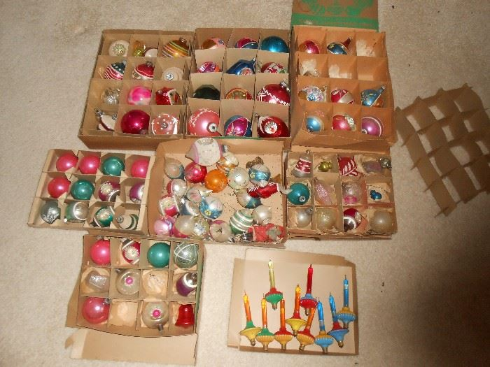 Many Mercury glass Christmas ornaments
