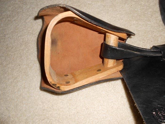Inside stirrup made of wood on the Leather Civil war McClellan saddle