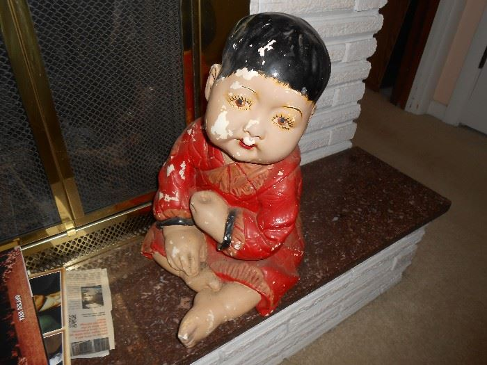 """Chalk-ware Oriental figure approx. 18"""" tall and weighs about 20 lbs."""