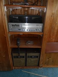 Stereo and speakers in basement