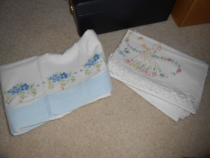 Just 2 sets of embroidered pillow cases