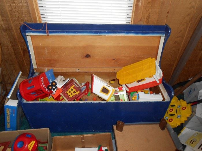 toy chest and many toys