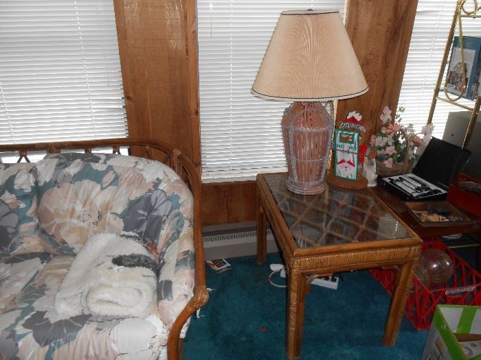 Rattan end table and wicker lamp