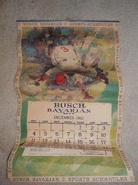 1960 Busch Bavarian beer calendar - Sports schedules