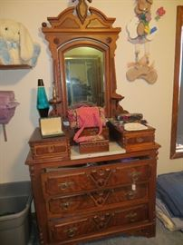 Beautiful matching dresser with glove drawers and marble inset. Purses and jewelry.