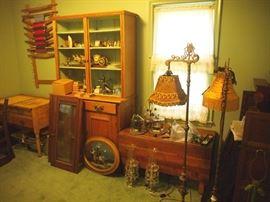 Cabinet, lamps, etc