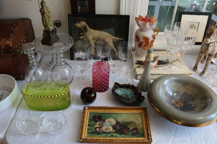 Antique French Glass, Wood and Stone carvings