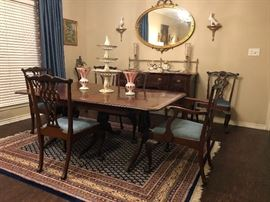 Antique  Regency style  Dining Table made in England and Antique  Chippendale  Chairs