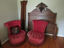 Parlor chairs and  ornate bed set (full)