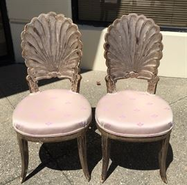 Pair of Antique Silvered Shell Back Chairs C. 1900