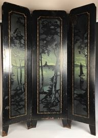 3 Section Painted Tole Ware Fire Screen C. 1900