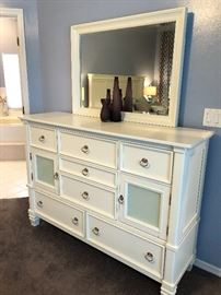 Matching dresser with mirror