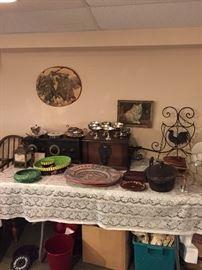 vintage radios , vintage Mexican  plates , pottery cast iron pot ,  vintage prints