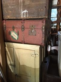vintage ice box ,several different trunks