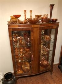Carnival glass collection.  There's more.  Lead glass display cabinet