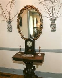 """EASTLAKE TABLE WITH """"JEROME & COMPANY """" ANTIQUE CLOCK"""