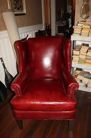 Beautiful leather wing chair.
