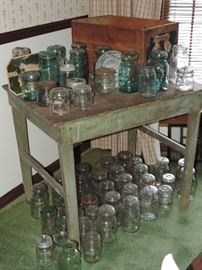 Old painted Canning Table, MANY JARS, blue and others, crates ... FUN FUN AND FUN !!!