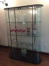 14. Curved Glass Display Cabinet (47'' x 16'' x 64'')