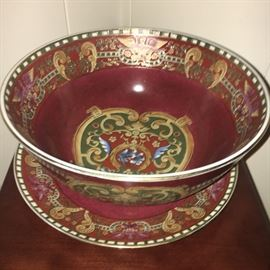 Decorative bowl and plate (contemporary, purchased from Dillard's, made in China).