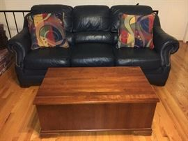 Nice dark blue leather sofa and coffee table with storage.