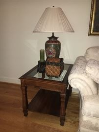 Cherry and beveled glass end tables and drop-leaf coffee table, pair of lamps.