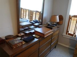 triple  dresser  for  mid  century  bedroom  set, lots  of  wooden  boxes