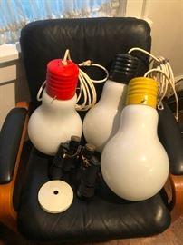 Mid Century Pop Art Ingo Maurer 1969 BIG Light Bulb Hanging Retro Lamps